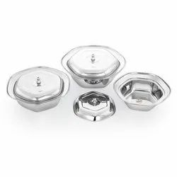 Silver Stainless Steel Serving Bowl With Lid, For Home, Capacity: 500-700 Ml