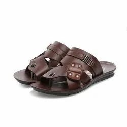 Mens Brown Front Covered Stripped Casual PU Slippers