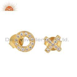 Initial O and X Font Gold Plated Silver CZ Gemstone Earring