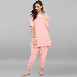 Pink Rayon Short Kurta With Dhoti Pant(SET075)