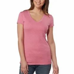 Half Sleeve V-neck Ladies Cotton T Shirt