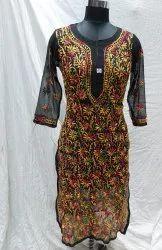 Gujral Fashion Ladies Georgette Chikankari Long Kurti