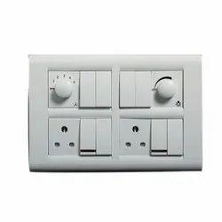 White Modular Switch Socket Combination, 220V