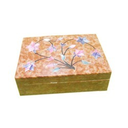 Soapstone Trinket Jewelry Box with Inlay Flower Design