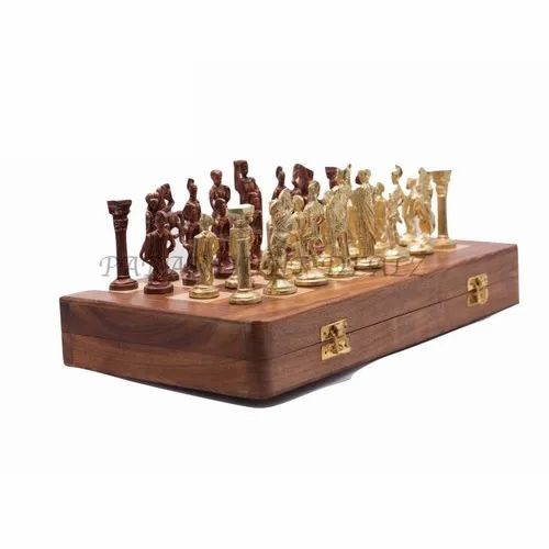 Roman Brass Chess Set And Gold And Brown Chess Coins