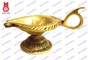 Oil Lamp Leaf Shape with Handle On Base