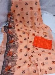 Screenprint Linen Sarees