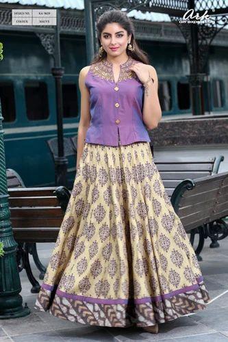 Plain Top And Printed Skirt