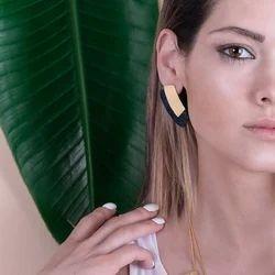 Geometric Design Two Tone Handmade Stud Earrings For Women
