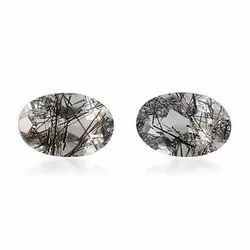 Black Rutilated Quartz Oval Faceted Stone