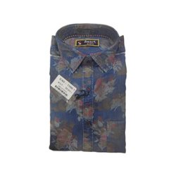 Blue Mens Casual Wear Printed Cotton Shirt