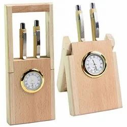 Elite Wood Wooden Double Pen Stand with watch, For Office