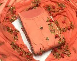 Printed Dori Work Dress Material