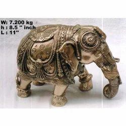 Decorative Brass Elephant Statue, For Interior Decor, Size/Dimension: H-8.5 X L-11 Inch