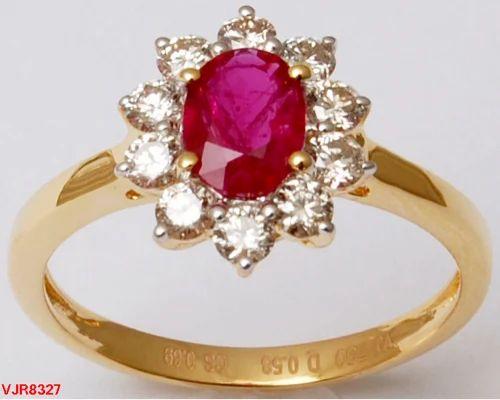 521e641da8 Wedding Halo Diamond Ruby Gold Ring For Girls, Rs 33000 /piece | ID ...