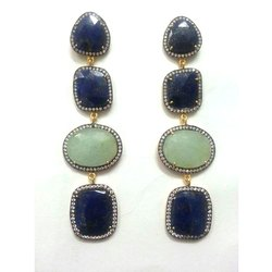 Gemstone Pave Diamond Victorian Earrings