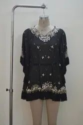 Black Plain Beaded Top