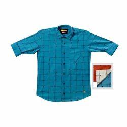 Men's Cotton Square Check Blue Shirt, Size: M to XXL