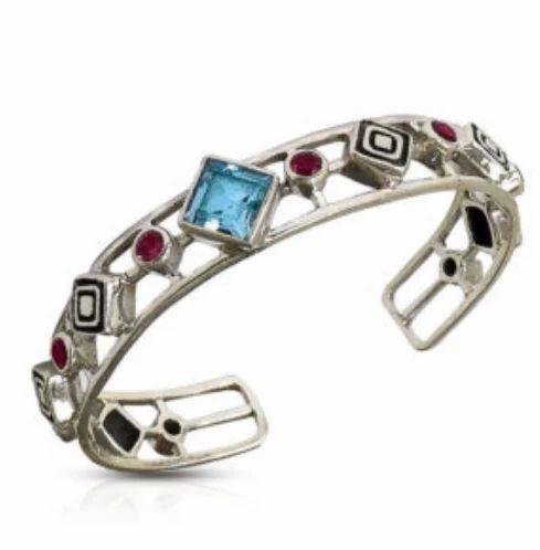 edc71d3a18e Garnet And Bluetopaz Studded Intricate Bracelet & Silver Designer ...