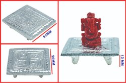 Coral Ganesh With Swasthik German Silver Table