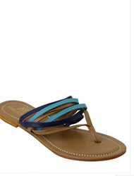 Ladies Blue Multi Strap Flat Sandals
