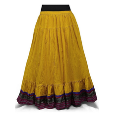 38 Inches Mustard Cotton Readymade Long Skirt