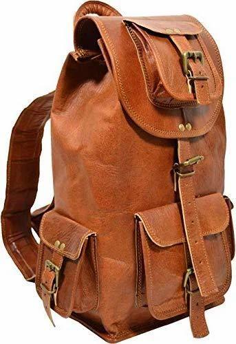8f6c6efa6818 Real Leather Handmade Backpack Travel Satchel Vintage Look Laptop Rucksack  Bag for Men and Women