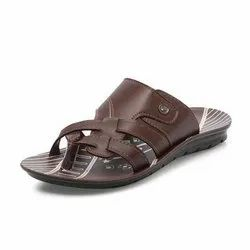 Mens Brown Ethnic PU Slippers