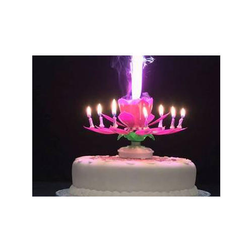 Multicolor Flower Musical Birthday Party Cake Candle