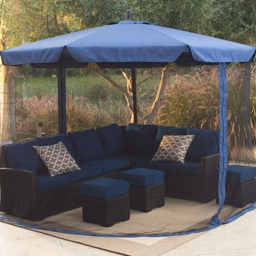 Blue Patio Umbrella with Netting