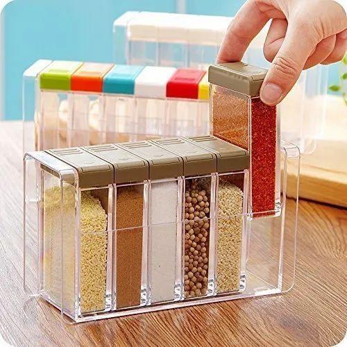 45fe6f62ae2 Idle for Kitchen Plastic Spice Jars Dispenser Masala Rack Box Easy Flow  Storage Crystal Seasoning