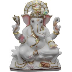 White Polished Marble Ganesh Statue