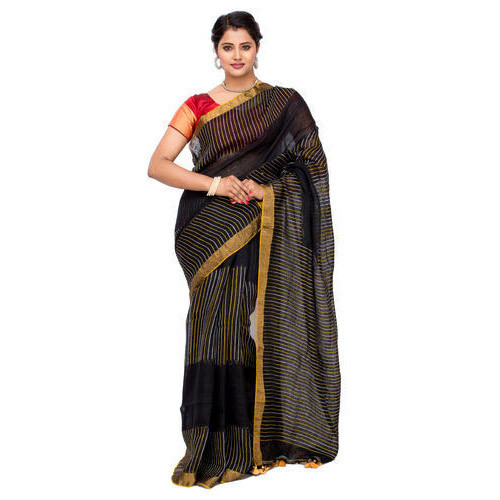 Casual Wear Ladies Black Saree with Blouse Piece