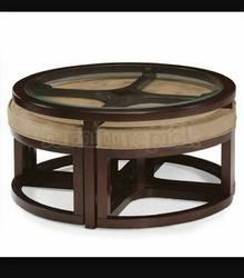 Brown Wooden Coffee Table Set