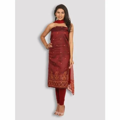 Ladies Unstitched Marron Silk Dress Material