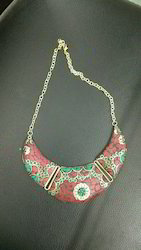 Brass Necklace With Stone Work