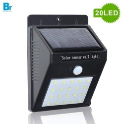 20 LED Weatherproof Wireless Wall Solar Light with Motion Sensor, Small(Black)