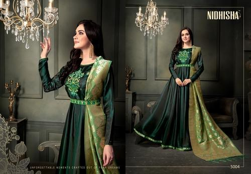 0c1f19cbc5cc5 Western Nidhisha Designer Party Wear Gown With Banarasi Dupatta, Rs ...