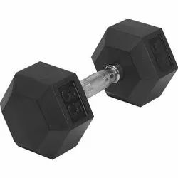 Rubber Hex Dumbbells in black, Weight: 5 - 100 Lbs, Fixed Weight