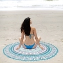 Indian Parrot  Peacock Yoga Mat Round Beach Throw Tapestry