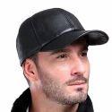Leather Black Baseball Cap