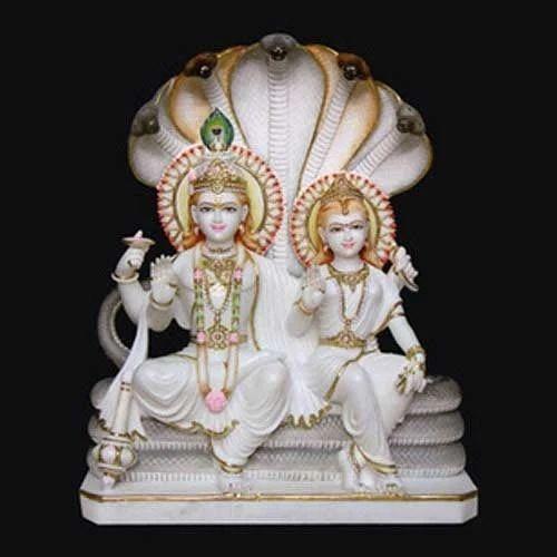 Marble Vishnu Laxmi Statue White Marble Laxmi Narayan