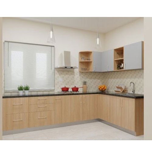 wooden designer l shape modular kitchen rs 1500 square