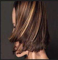 Woman Hair Highlights Partial ब ल बन न और