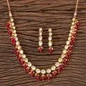 Kundan Gold Plated Delicate Necklace 300327, Size: Regular And Adjustable