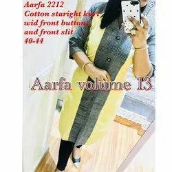 Aarfa 2212 Cotton Straight Kurti