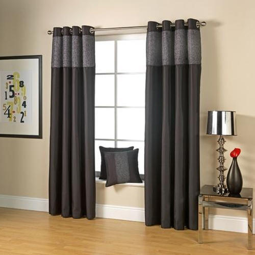 Black Chiffon Designer Bedroom Curtain, Shape: Vertical, Rs 500 ...