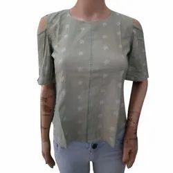 Printed Half Sleeves Ladies Designer Cotton Top, Packaging Type: Packet