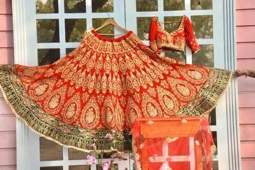 Bridal Wear Maroon Velvet Heavy Worked Lehenga Choli Dupatta Set