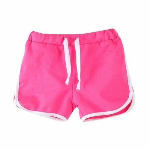 Regular Wear Pink Girls Plain Cotton Shorts, Size: 26-32( Waist Size), Rs  140 /piece | ID: 21250843155